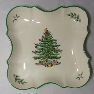 SPODE Christmas Tree Green Trim Devonia Tray